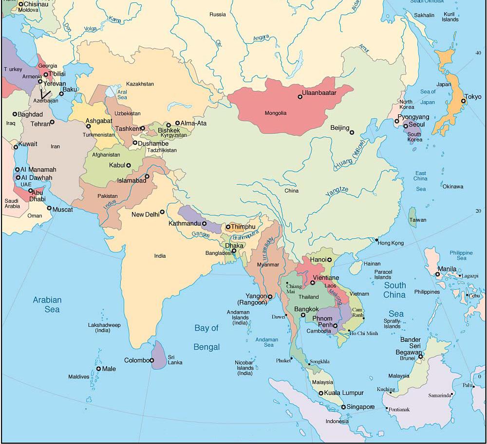 Carte principale de l'Asie du Sud Est